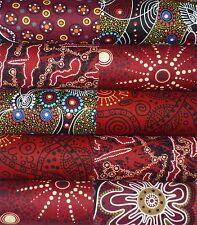 10 Aboriginal Australian Red prints quilting fabric 5 inch squares #31