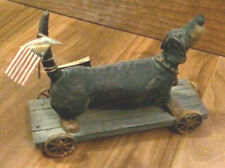 American Chestnut Folk Art Dachshund on wood wagon - Handmade, Handcrafted