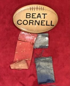 Antique 1920's Univ of Penn Beat Cornell Melon Football Pin Button Early Old