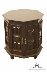 """Vintage Hand Made Solid Walnut English Revival Gothic Jacobean 21"""" Octagonal ..."""