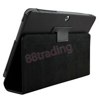 BLACK FLIP LEATHER CASE COVER for SAMSUNG GALAXY TAB 2 10.1 P5100 P5110 + 2 FILM