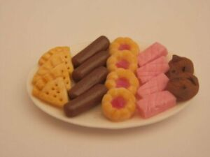 Dolls house food: Ceramic platter of assorted teatime biscuits  -By Fran