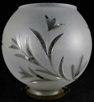 Antique Satin Glass Gas Lamp Shade - Wheel Cut Floral Motif w/ Brass Fitting
