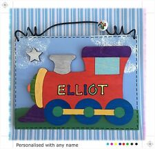 Children's Train Door Sign PERSONALISED Handmade Name Plaque - Boys Childs - Red