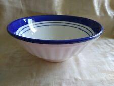 "Roma Inc Pasta Serving Bowl Platter Italy Blue Striped  9 7/8"" dia."