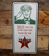 New TEXACO DECOR WOOD PLAQUE trust your car man star pump oil gasoline gas shop