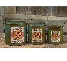 3 Piece Country Primitive Tin Decorative Sunflower Pots Storage Containers Pails