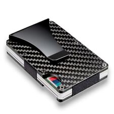 Metal Slim Carbon Fiber Credit Card Holder RFID Blocking Money Clip Purse Hot