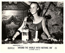 Around the World with Nothing On 1961 lobby card nudist movie girl behind bar