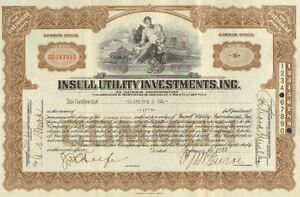 Insull Utility Investments Inc > 1932 Illinois stock share certificate