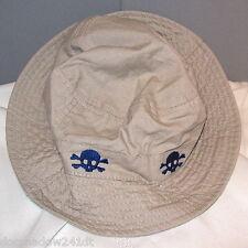 Skull & Crossbones Bucket Style Kid's Khaki Cotton Cap Hat by Healthtex
