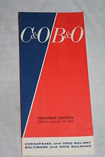 Vintage C&0 B&O Chesapeake Ohio Baltimore Railroad System Timetable Jan 25, 1970