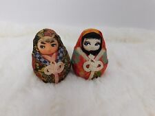 Japanese Asian Gofun Wedding Dolls Ball Round Hand Painted Faces Kimono Brocade