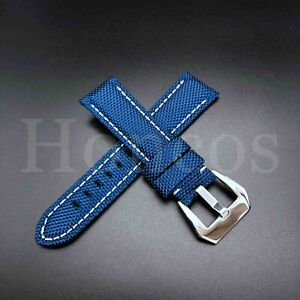 22 24 26 MM Canvas Stitch Calf Leather Watch Band Strap Fits for Panerai Luminor