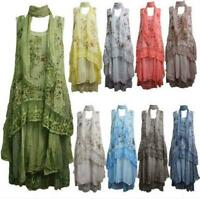 Italian Womens Ladies Layered Lagenlook Floral Lace Panels 3 Piece Top Dress