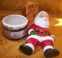 "Collectible Ceramic Porcelain ""Santa"" Candle Holder- 3""H x 4"" X 4"""