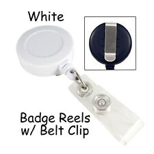 1 Id Badge Reel Lanyard - White - Retractable with Belt Clip & Plastic Strap
