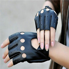 Women's Leather Gloves Half Finger Fingerless Stage Sports Cycling Driving New