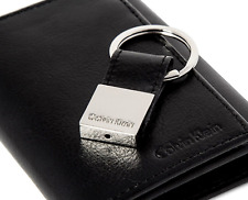 MENS CALVIN KLEIN BLACK GENUINE LEATHER TRIFOLD WALLET & KEY FOB BOXED GIFT SET