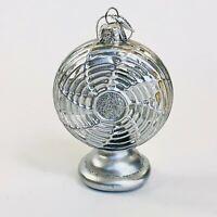 Kurt Adler Glass Ornament Classic Fan Ornament Silver Noble Gems New NB1585