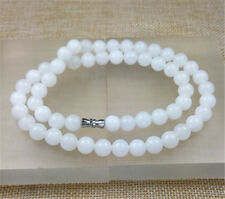 """White jade beads necklace 8Mm 10Pcs New 18"""" 100% Natural"""
