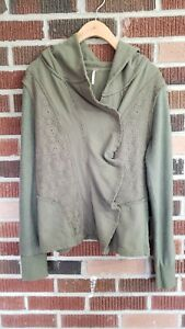 FREE PEOPLE CLEMENTINE LACE INSET HOODIE SIZE SMALL