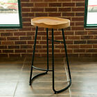 2X INDUSTRIAL VINTAGE RETRO SOLID WOOD RUSTIC DINING CAFE BREAKFAST BAR STOOL