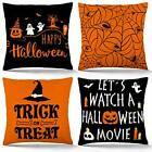 Halloween Pillow Covers 18x18 Inch Set of 4 Trick or Treat Throw Pillow Covers