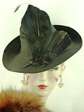 Sombrero Vintage 1940s puntada de gasa negro de la segunda guerra mundial francés A Rayas Fedora, plumas de ala