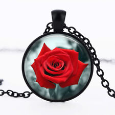 Red Rose photo dome Black Cabochon Glass Necklace chain Pendant