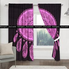 Indian Leaf Ombre Tapestry Drape Cotton Bohemian Window Door Valance Curtain Set
