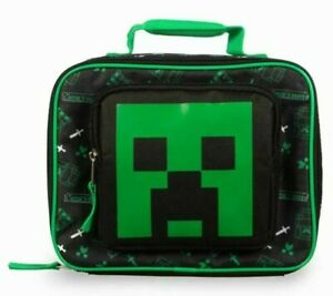 New Minecraft Creeper Insulated Lunch Bag Tote Green Black