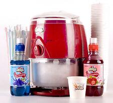 Red Snowcone machine ice shaver kit 50 tasses 50 pailles bleu framboise & fraise