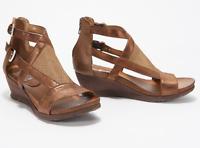 Miz Mooz Leather Cut-Out Embellished Wedge Sandal Sawyer Bronze EU36 (US 5.5-6)