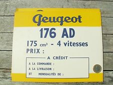PEUGEOT MOTO 176 AD 175 cm2 FICHE BRISTOL ORIGINALE D'EPOQUE 24,5 X 19,5 GARAGE