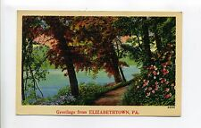 Greetings from Elizabethtown Pa (Hardin Co) path along water, vintage linen