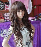 HOT Women girl 3 color long curly full Wig bang 50% human hair cosplay PO179