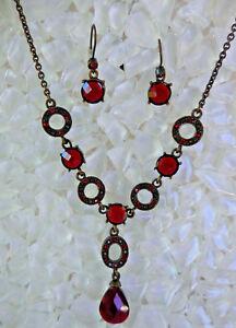 Avon Red Rhinestone Necklace Earrings Set Brass Tone Metal