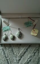 BrandNew Victoria Crown & Co. SS Marcasite Jade Butterfly Necklace & Earring Set