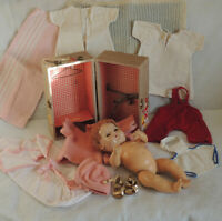 "Vintage EFFANBEE 15"" DY-DEE BABY DOLL With Original 12 Pc Layette & Trunk"
