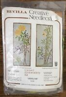 Vtg Bucilla Creative Needlecraft Crewel Embroidery Kit 8532 Oriental Pair Birds