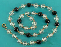 Antique Deco GF Gold Filled Crystal & 6mm Jet Glass Bead Station Necklace 17""