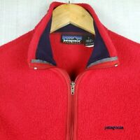 PATAGONIA SYNCHILLA Size Small Womens Made in USA Red Full Zip Fleece Vest EUC