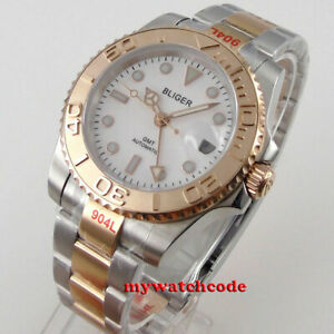 40mm bliger sterile white dial rose gold Sapphire Glass GMT Automatic mens Watch
