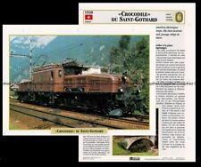 Fiche Locomotive Crocodile du Saint Gothard Chemin de Fer 1920 Réseau Suise