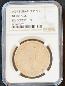 Superb Rare Scarce Genuine Vintage 1907 US Philippines 1 Peso Silver Coin NGC XF