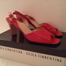 New Silvia Fiorentina, Bergdorf Goodman Red Embossed Leather Slingback SZ 7.5