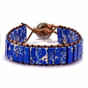 7 Chakra Natural Stone Crystal Tube Beads Bracelet Handmade Leather Wrap Bangle