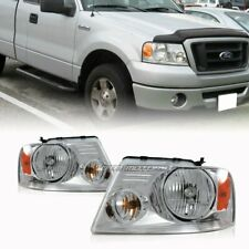 Chrome Housing Clear Lens Amber Reflector Head Light Lamps For 04-08 Ford F150