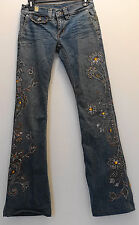 Express X2 Woman's Destructed Blue Denim Laboratory Rhinestone Jeans - 26 X 31